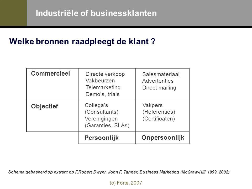 (c) Forte, 2007 Industriële of businessklanten Welke bronnen raadpleegt de klant .