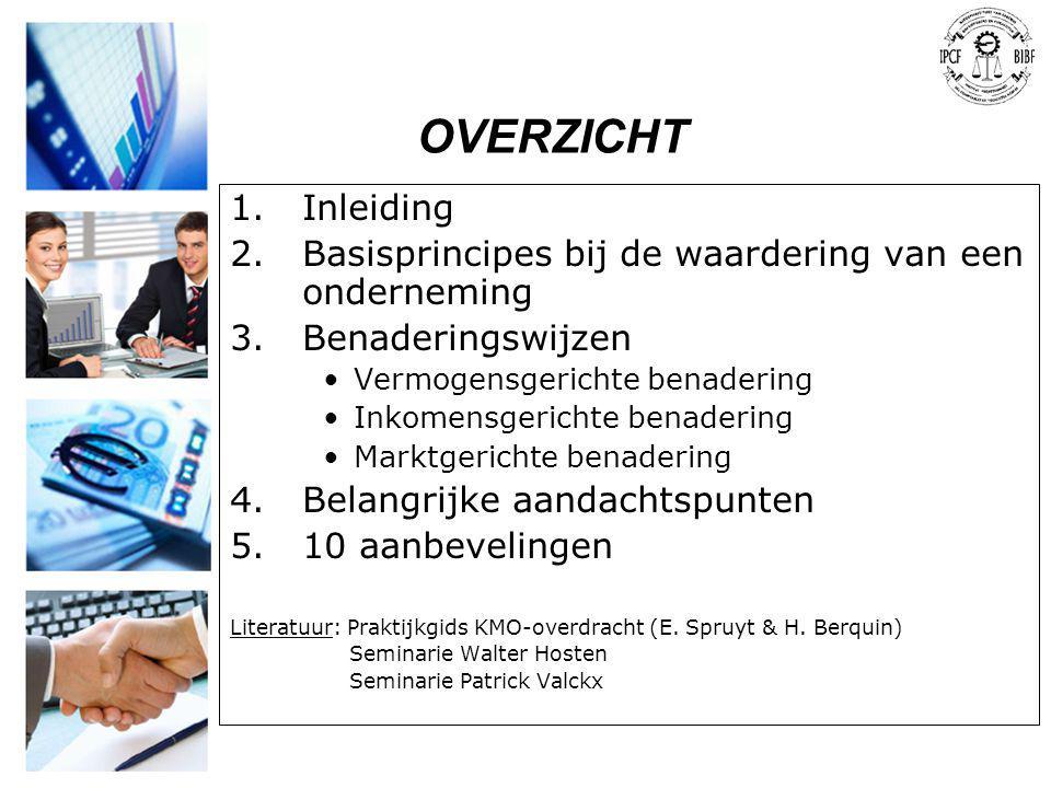 OVERZICHT 1.Inleiding 2.Basisprincipes bij de waardering van een onderneming 3.Benaderingswijzen •Vermogensgerichte benadering •Inkomensgerichte benad