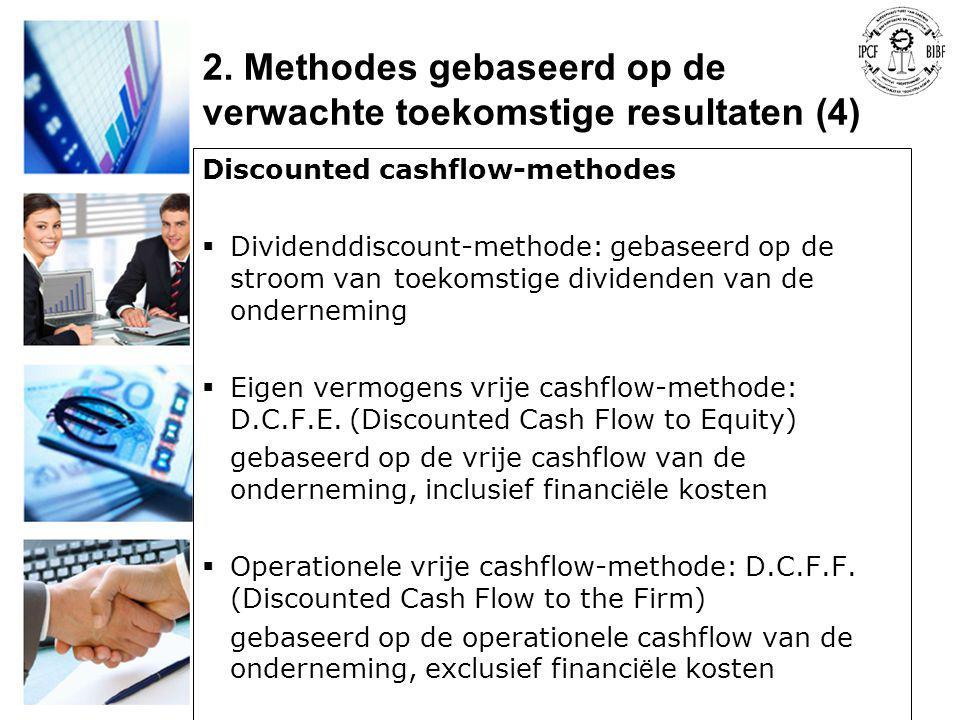 Discounted cashflow-methodes  Dividenddiscount-methode: gebaseerd op de stroom van toekomstige dividenden van de onderneming  Eigen vermogens vrije