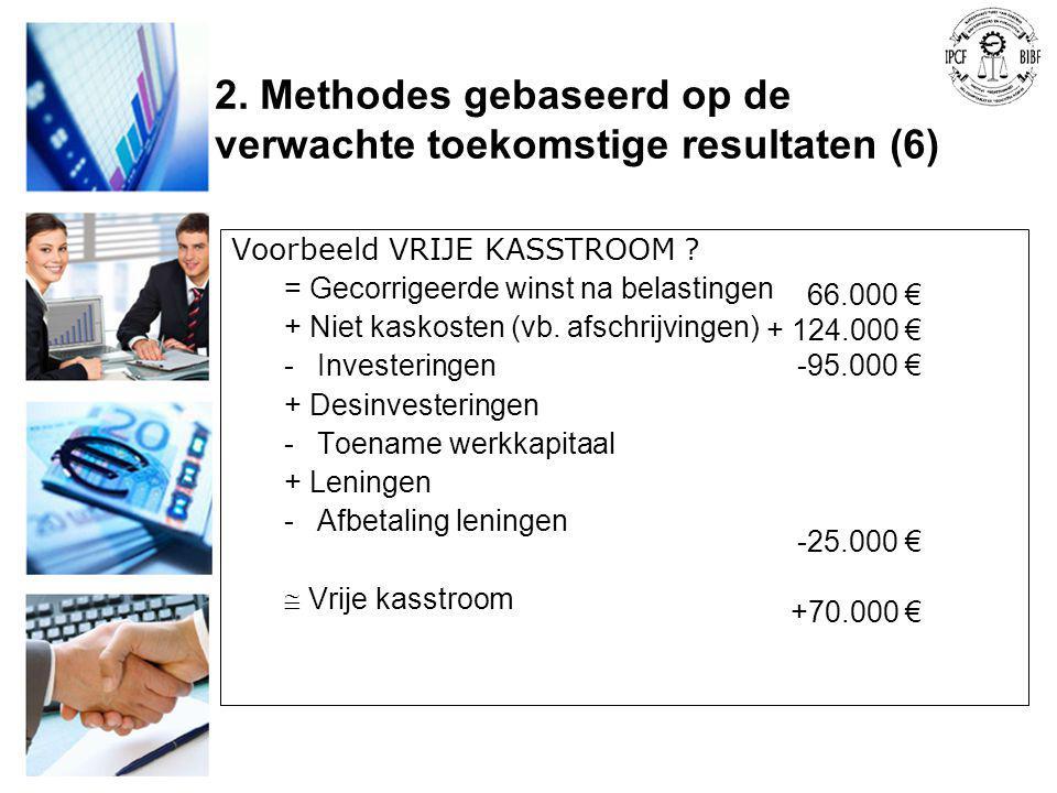 Voorbeeld VRIJE KASSTROOM ? = Gecorrigeerde winst na belastingen + Niet kaskosten (vb. afschrijvingen) -Investeringen + Desinvesteringen -Toename werk