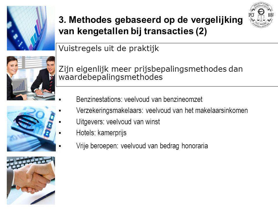 Vuistregels uit de praktijk Zijn eigenlijk meer prijsbepalingsmethodes dan waardebepalingsmethodes  Benzinestations: veelvoud van benzineomzet  Verz
