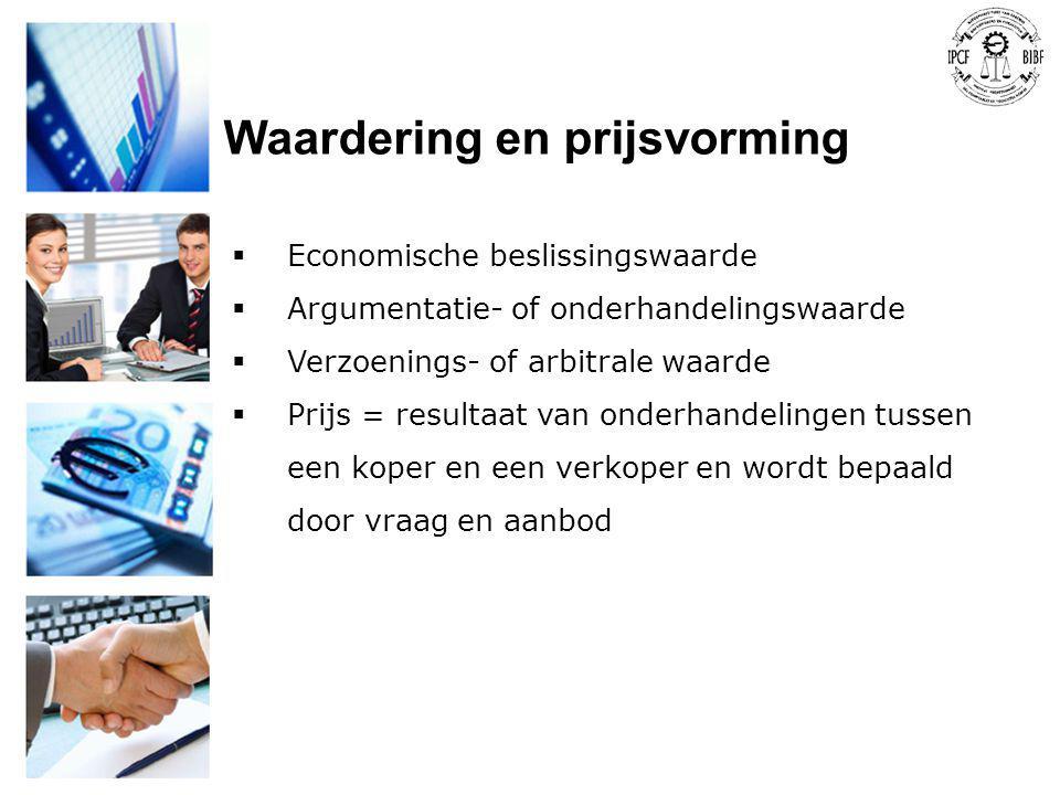 Waardering en prijsvorming  Economische beslissingswaarde  Argumentatie- of onderhandelingswaarde  Verzoenings- of arbitrale waarde  Prijs = resul
