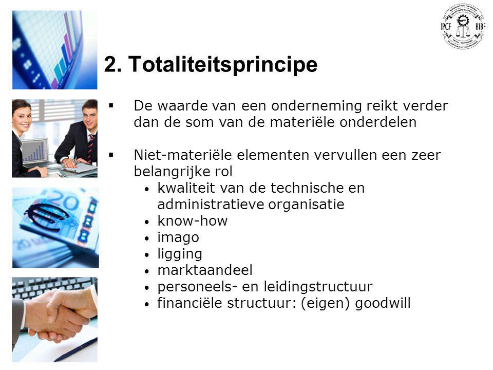 2. Totaliteitsprincipe  De waarde van een onderneming reikt verder dan de som van de materiële onderdelen  Niet-materiële elementen vervullen een ze