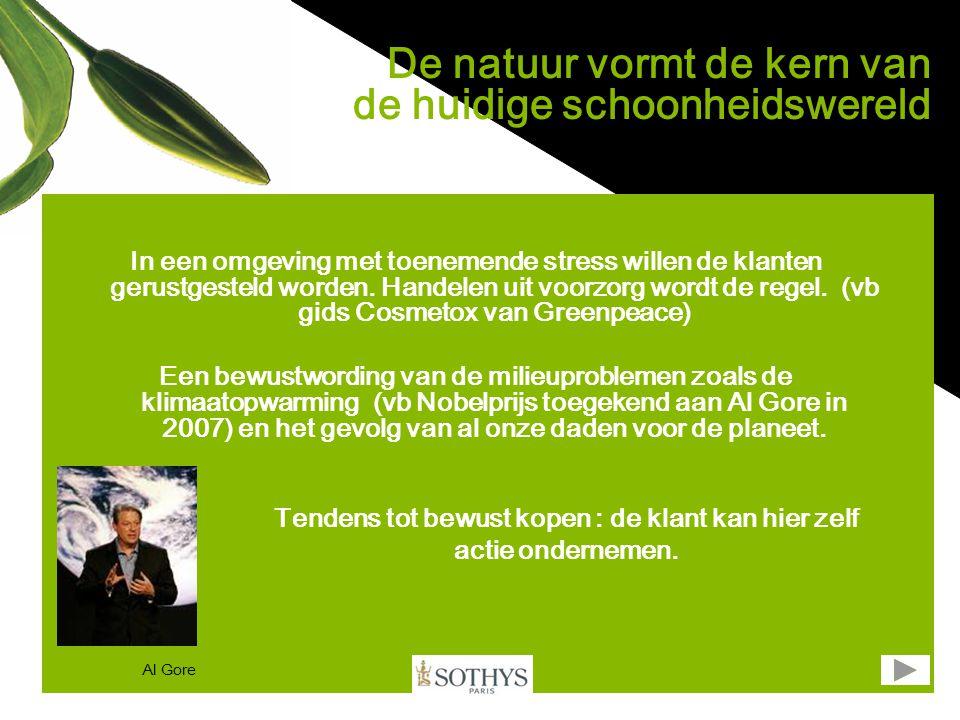 De groene golf De markt van de biocosmetica stijgt elk jaar met 20 tot 30%, vooral in Europa en in Noord-Amerika Verkoop op wereldvlak 2007 = 7 Milliard $ (bron : Organic monitor) De grote namen in de cosmetica veroveren deze markt : (vb L'Oréal koopt Sanoflore op / Clarins heeft deelname in Kibio) Bio laat zich meer en meer opmerken in de markt van de duurste prijsklasse (vb : het gamma van Stella Mc Cartney dat op de markt komt) Het gebruik van deze producten wordt glamoureus (vb Cameron Diaz of Madonna die de producten van Dr Hauschka gebruiken) Het is belangrijk voor Sothys om met een exclusief antwoord een hoofdrol te spelen op deze markt.