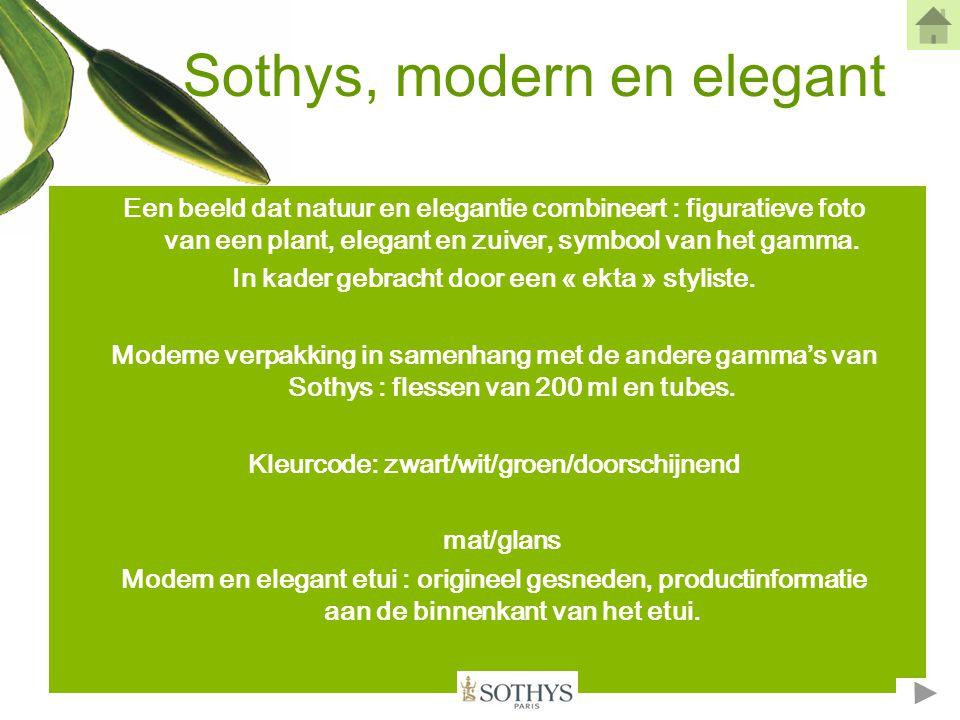 Groene cosmetische waarden •E•Een sterke slogan : « de natuur analyseren en het beste onthullen » •D•Duidelijke aanwezigheid van de Sothys Auriac site.