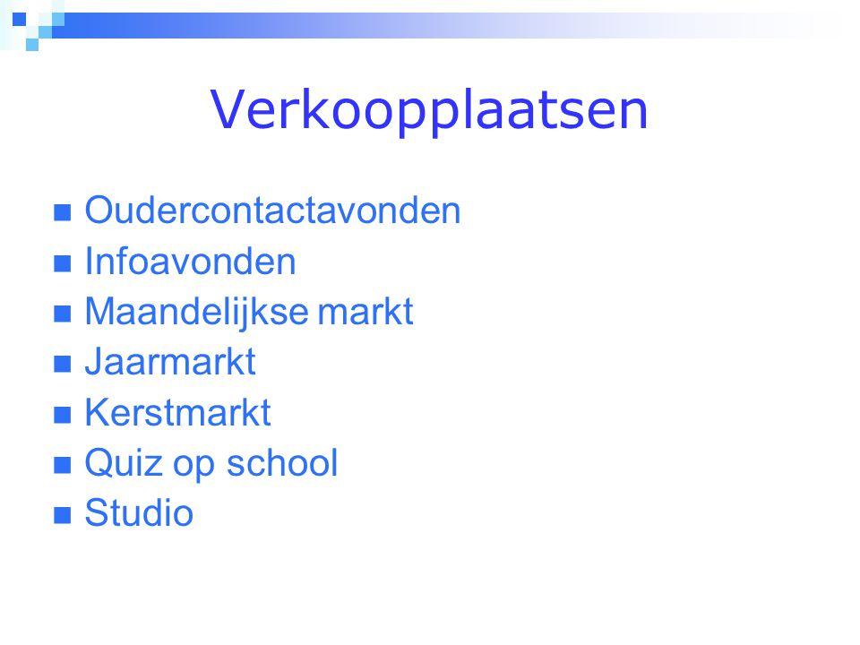 Verkoopplaatsen  Oudercontactavonden  Infoavonden  Maandelijkse markt  Jaarmarkt  Kerstmarkt  Quiz op school  Studio