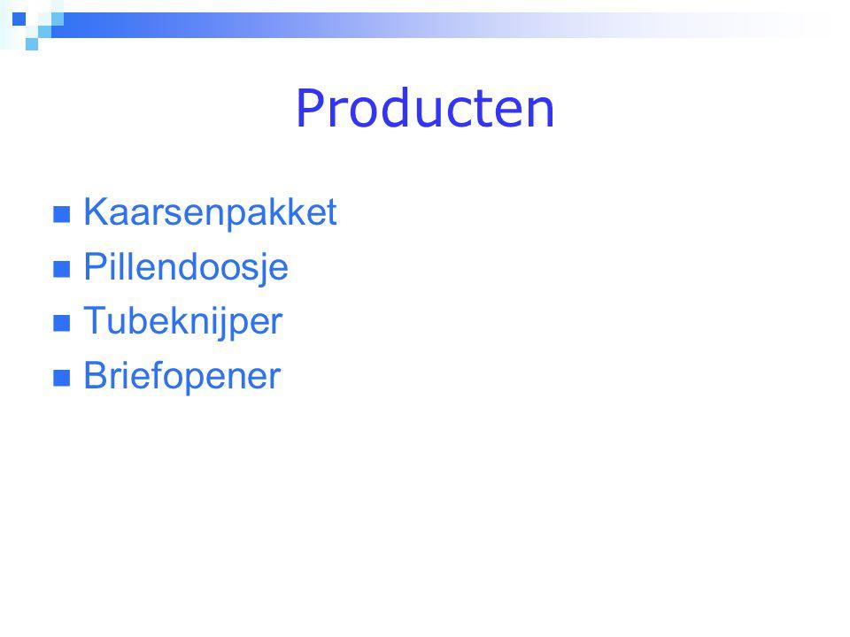 Producten  Kaarsenpakket  Pillendoosje  Tubeknijper  Briefopener
