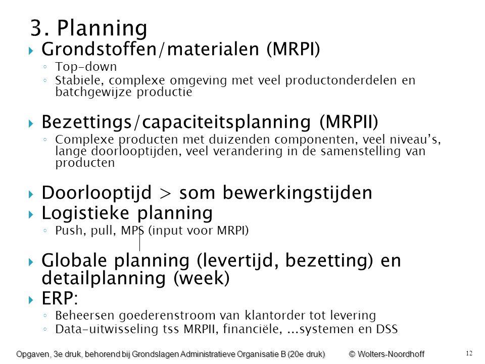 12  Grondstoffen/materialen (MRPI) ◦ Top-down ◦ Stabiele, complexe omgeving met veel productonderdelen en batchgewijze productie  Bezettings/capacit