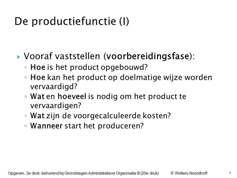6  Vooraf vaststellen (voorbereidingsfase): ◦ Hoe is het product opgebouwd? ◦ Hoe kan het product op doelmatige wijze worden vervaardigd? ◦ Wat en ho