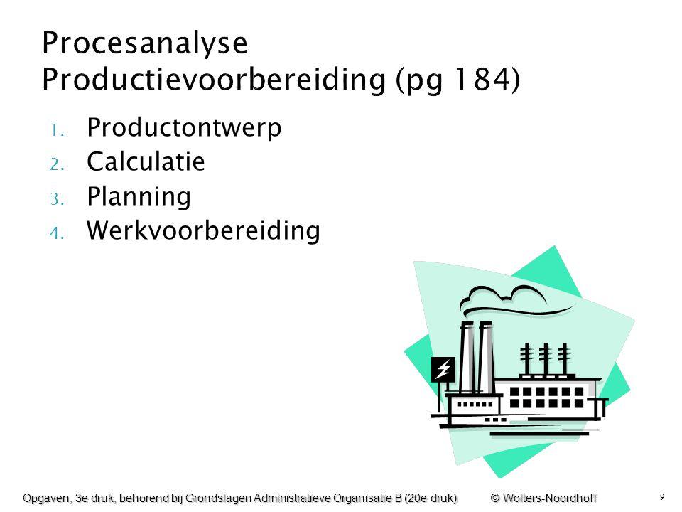 9 1. Productontwerp 2. Calculatie 3. Planning 4. Werkvoorbereiding Opgaven, 3e druk, behorend bij Grondslagen Administratieve Organisatie B (20e druk)