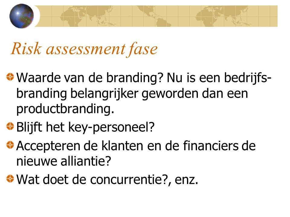Risk assessment fase Waarde van de branding? Nu is een bedrijfs- branding belangrijker geworden dan een productbranding. Blijft het key-personeel? Acc