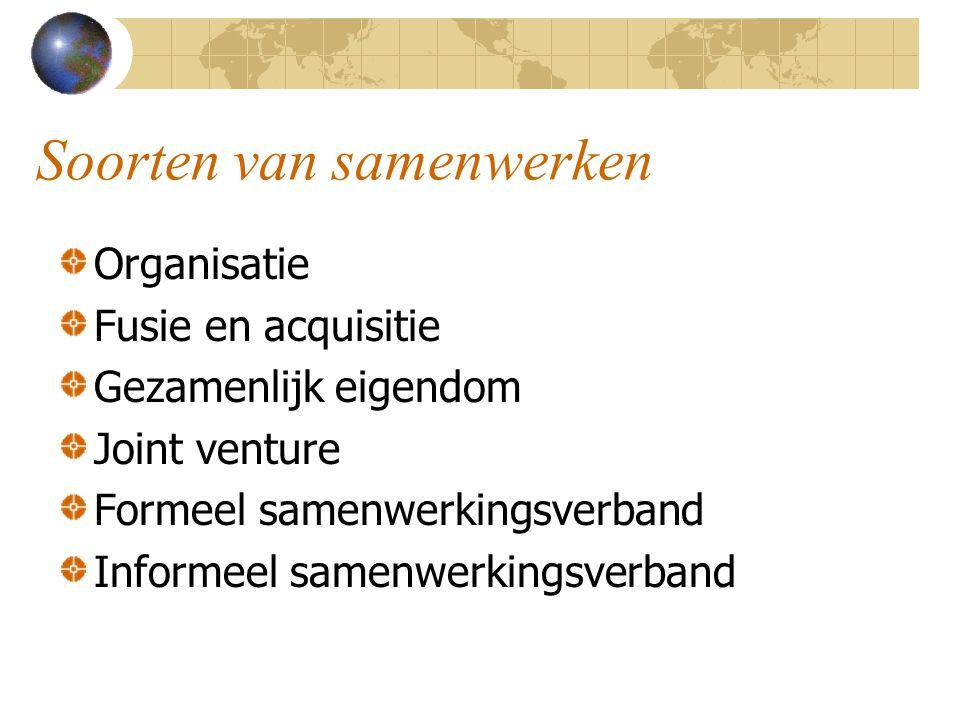Soorten van samenwerken Organisatie Fusie en acquisitie Gezamenlijk eigendom Joint venture Formeel samenwerkingsverband Informeel samenwerkingsverband