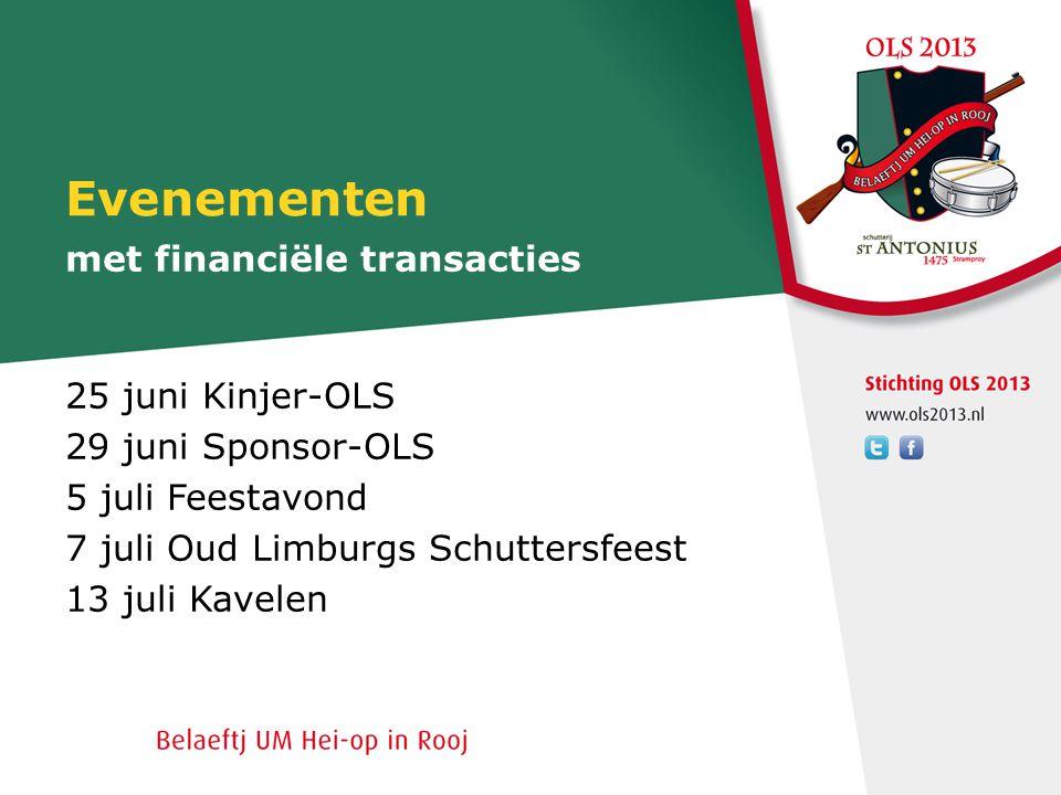 Evenementen 25 juni Kinjer-OLS 29 juni Sponsor-OLS 5 juli Feestavond 7 juli Oud Limburgs Schuttersfeest 13 juli Kavelen met financiële transacties