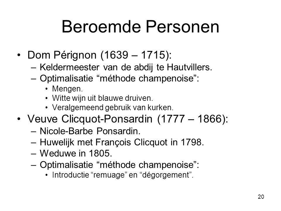 20 Beroemde Personen •Dom Pérignon (1639 – 1715): –Keldermeester van de abdij te Hautvillers.