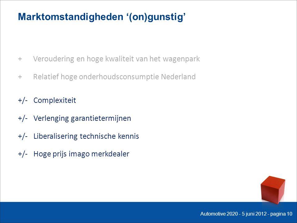 Marktomstandigheden '(on)gunstig' + Veroudering en hoge kwaliteit van het wagenpark + Relatief hoge onderhoudsconsumptie Nederland +/- Complexiteit +/- Verlenging garantietermijnen +/- Liberalisering technische kennis +/- Hoge prijs imago merkdealer Automotive 2020 - 5 juni 2012 - pagina 10