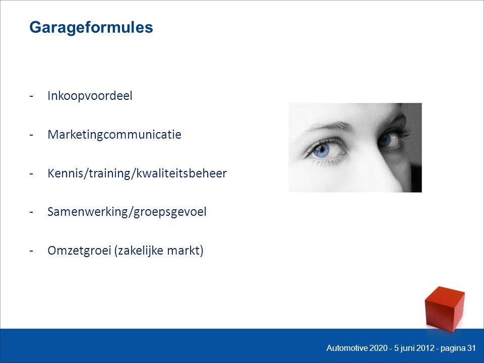 Garageformules -Inkoopvoordeel -Marketingcommunicatie -Kennis/training/kwaliteitsbeheer -Samenwerking/groepsgevoel -Omzetgroei (zakelijke markt) Automotive 2020 - 5 juni 2012 - pagina 31