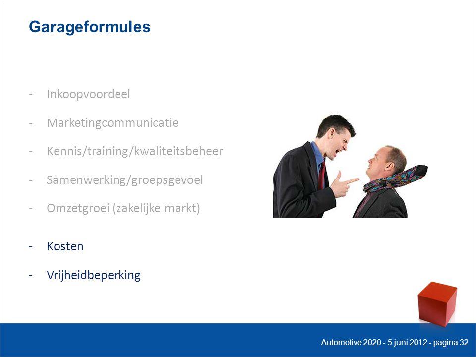 Garageformules -Inkoopvoordeel -Marketingcommunicatie -Kennis/training/kwaliteitsbeheer -Samenwerking/groepsgevoel -Omzetgroei (zakelijke markt) -Kosten -Vrijheidbeperking Automotive 2020 - 5 juni 2012 - pagina 32