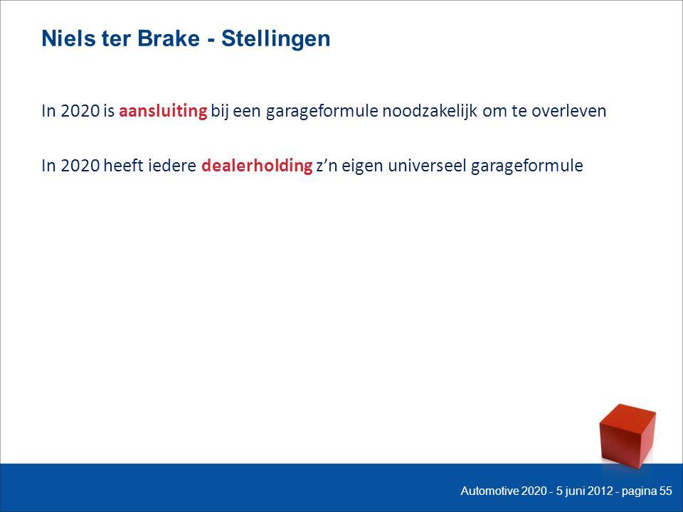 Niels ter Brake - Stellingen In 2020 is aansluiting bij een garageformule noodzakelijk om te overleven In 2020 heeft iedere dealerholding z'n eigen universeel garageformule Automotive 2020 - 5 juni 2012 - pagina 55