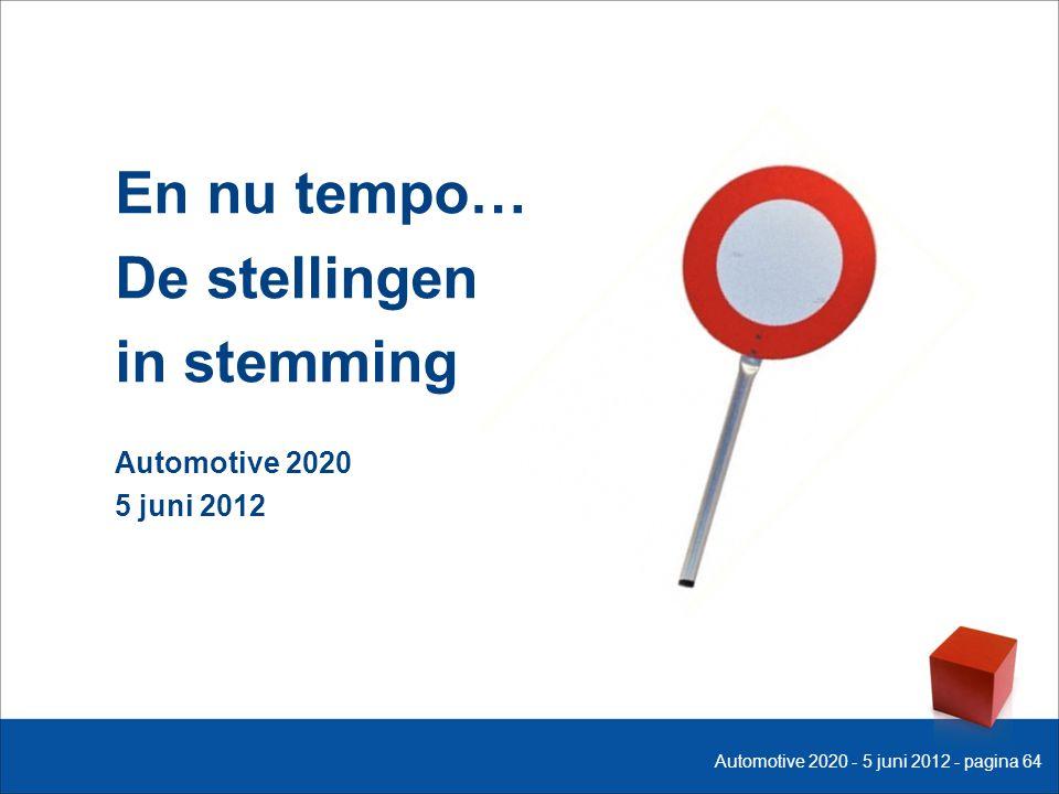 En nu tempo… De stellingen in stemming Automotive 2020 5 juni 2012 Automotive 2020 - 5 juni 2012 - pagina 64