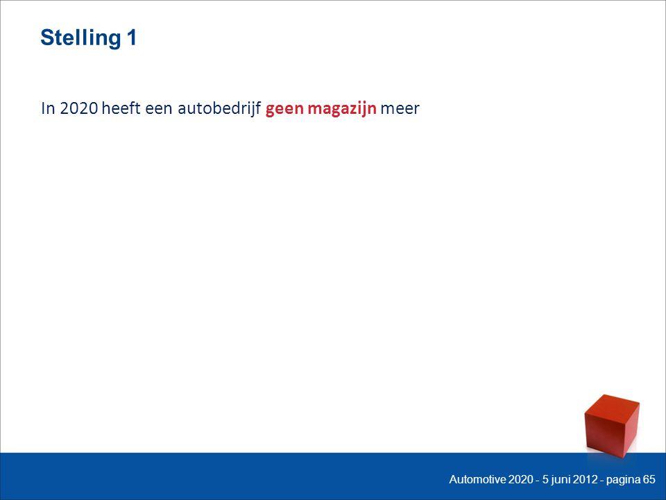 Stelling 1 In 2020 heeft een autobedrijf geen magazijn meer Automotive 2020 - 5 juni 2012 - pagina 65