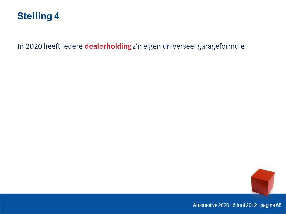 Stelling 4 In 2020 heeft iedere dealerholding z'n eigen universeel garageformule Automotive 2020 - 5 juni 2012 - pagina 68