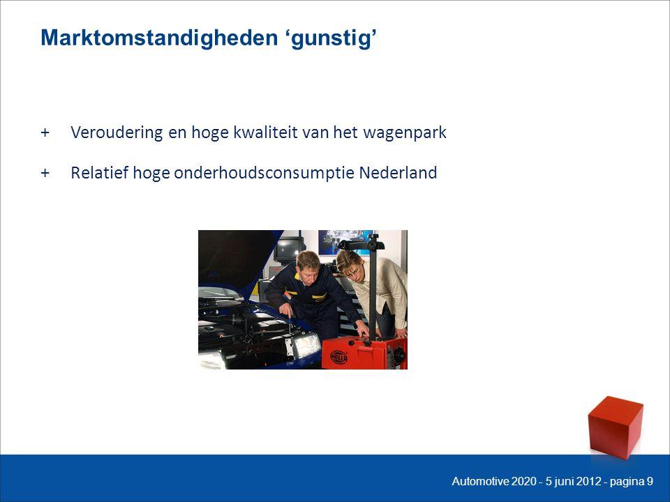 Marktomstandigheden 'gunstig' + Veroudering en hoge kwaliteit van het wagenpark + Relatief hoge onderhoudsconsumptie Nederland Automotive 2020 - 5 juni 2012 - pagina 9