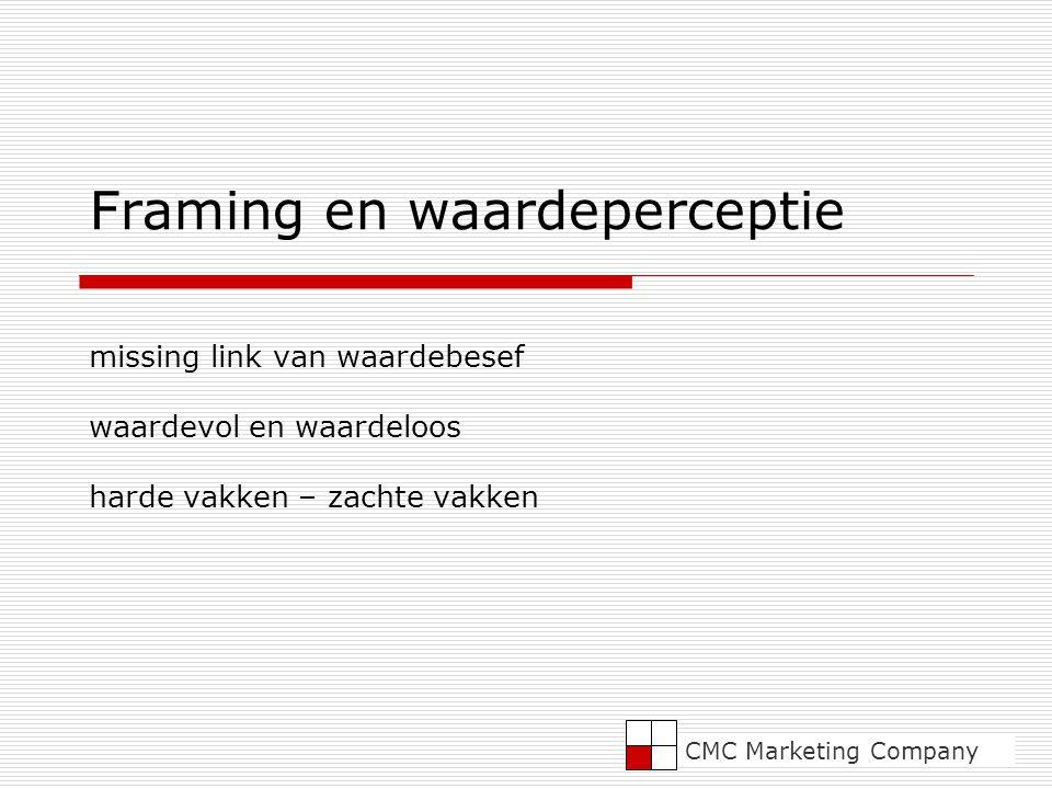 Framing en waardeperceptie missing link van waardebesef waardevol en waardeloos harde vakken – zachte vakken CMC Marketing Company