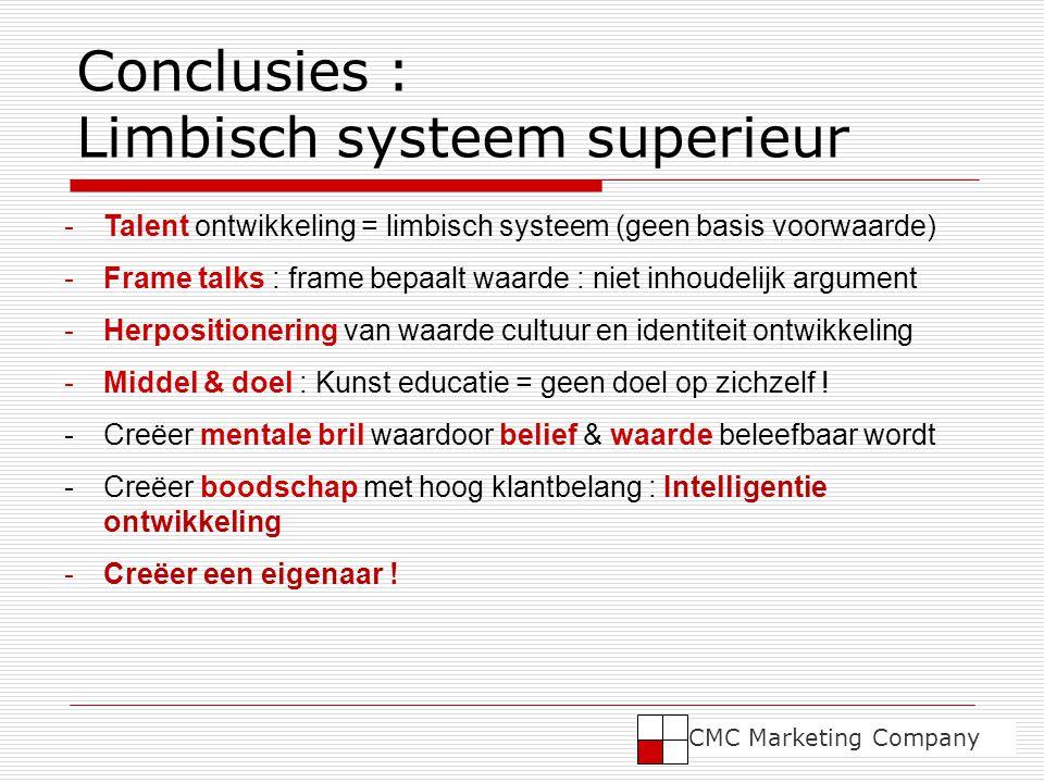 Conclusies : Limbisch systeem superieur -Talent ontwikkeling = limbisch systeem (geen basis voorwaarde) -Frame talks : frame bepaalt waarde : niet inhoudelijk argument -Herpositionering van waarde cultuur en identiteit ontwikkeling -Middel & doel : Kunst educatie = geen doel op zichzelf .