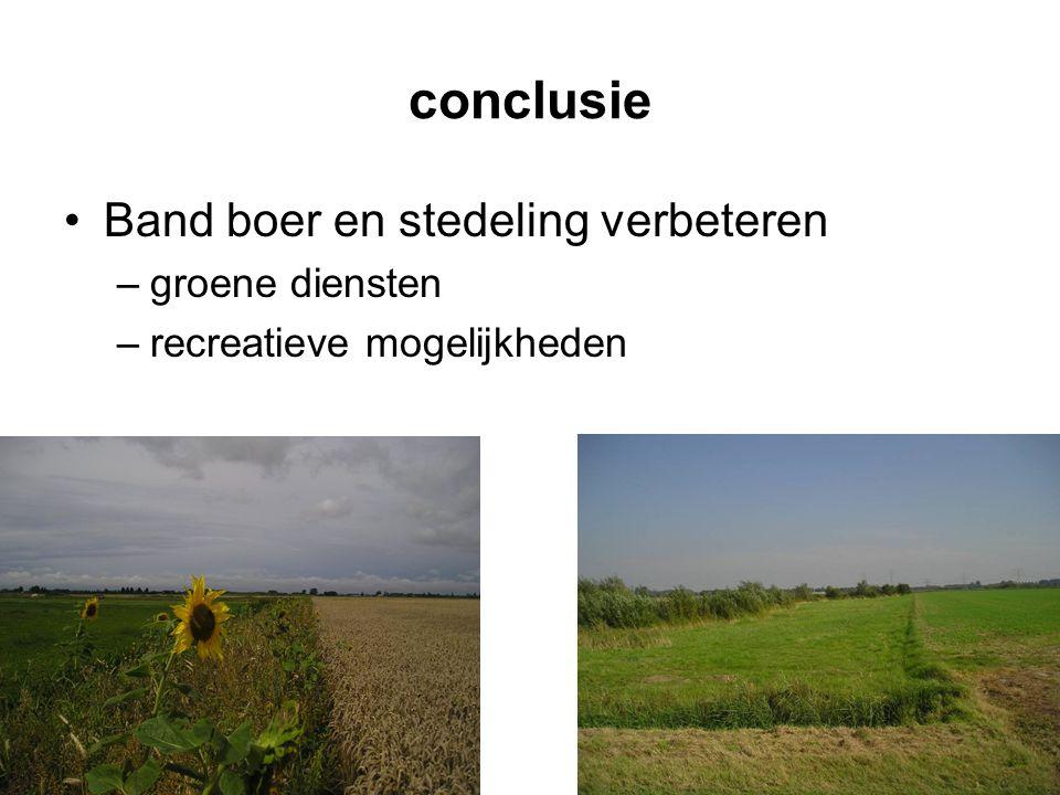 conclusie •Band boer en stedeling verbeteren –groene diensten –recreatieve mogelijkheden