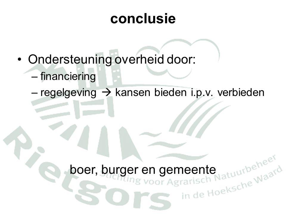 conclusie •Ondersteuning overheid door: –financiering –regelgeving  kansen bieden i.p.v. verbieden boer, burger en gemeente