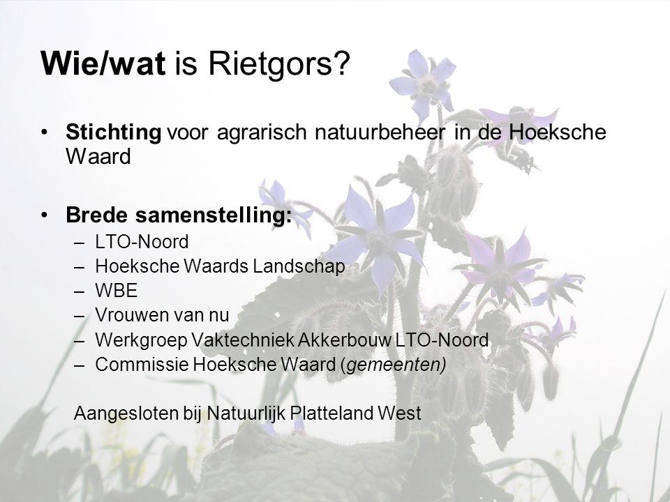 Wie/wat is Rietgors? •Stichting voor agrarisch natuurbeheer in de Hoeksche Waard •Brede samenstelling: –LTO-Noord –Hoeksche Waards Landschap –WBE –Vro