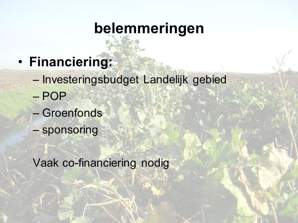 belemmeringen •Financiering: –Investeringsbudget Landelijk gebied –POP –Groenfonds –sponsoring Vaak co-financiering nodig