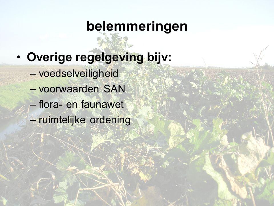 belemmeringen •Overige regelgeving bijv: –voedselveiligheid –voorwaarden SAN –flora- en faunawet –ruimtelijke ordening