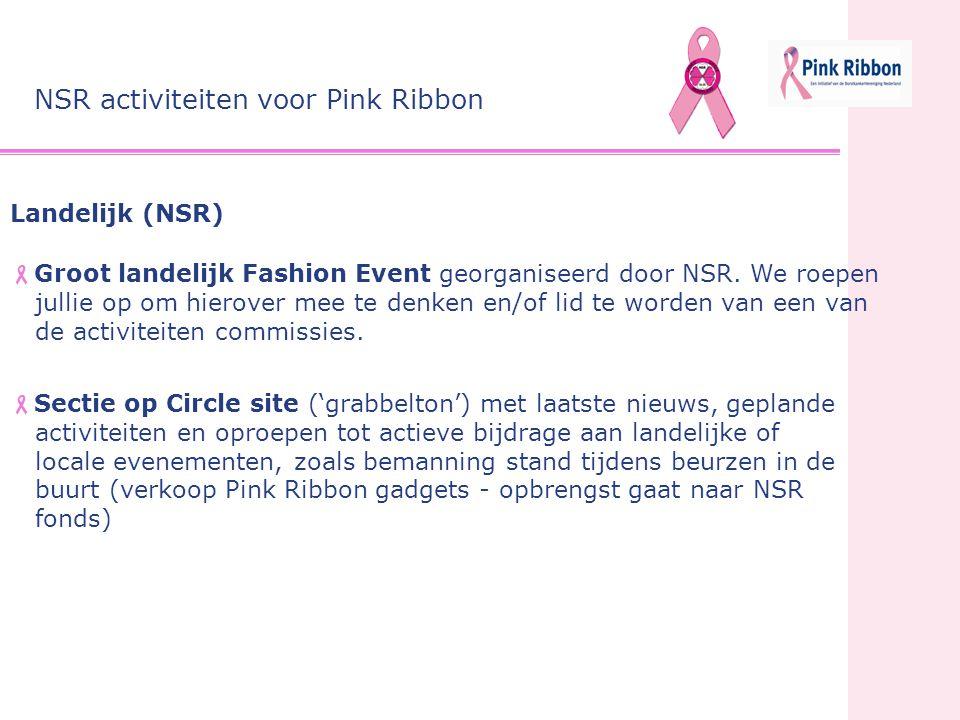 Landelijk (NSR)  Groot landelijk Fashion Event georganiseerd door NSR. We roepen jullie op om hierover mee te denken en/of lid te worden van een van