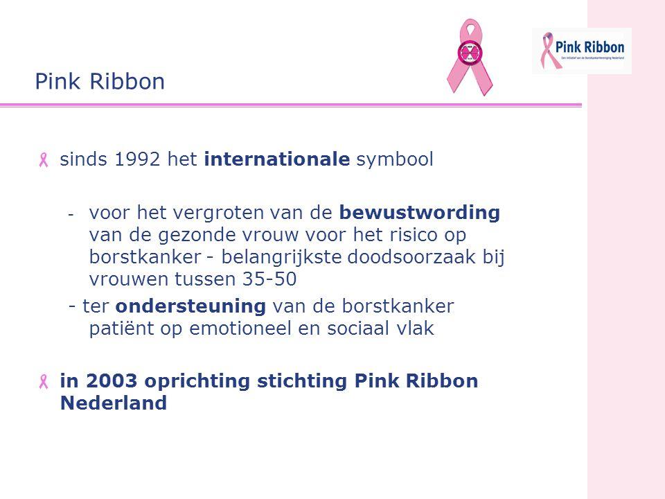 Borstkanker Vereniging Nederland Positionering Pink Ribbon BVN, uitsluitend belangen- behartiging van patiënten bewustwording van de gezonde vrouw emotionele en sociale support van patiënten en haar omgeving Pink Ribbon Pink Ribbon vervult een nieuwe functie:  