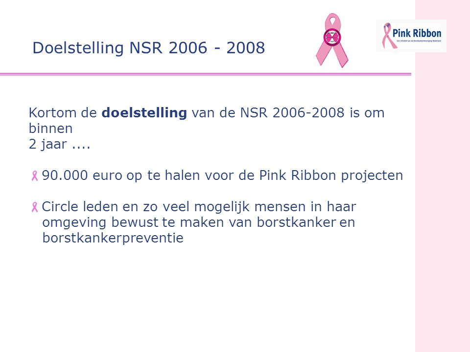 Kortom de doelstelling van de NSR 2006-2008 is om binnen 2 jaar....  90.000 euro op te halen voor de Pink Ribbon projecten  Circle leden en zo veel