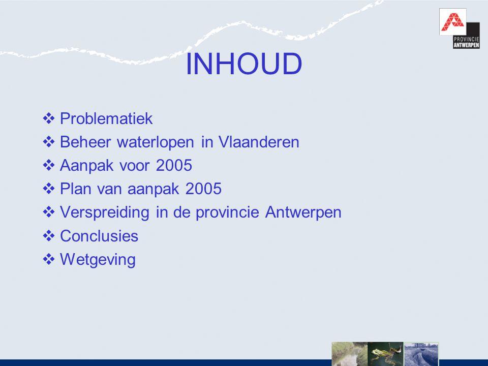 INHOUD  Problematiek  Beheer waterlopen in Vlaanderen  Aanpak voor 2005  Plan van aanpak 2005  Verspreiding in de provincie Antwerpen  Conclusie