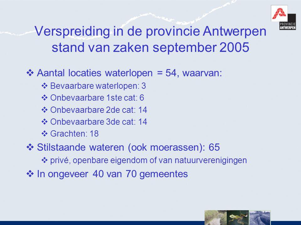 Verspreiding in de provincie Antwerpen stand van zaken september 2005  Aantal locaties waterlopen = 54, waarvan:  Bevaarbare waterlopen: 3  Onbevaa