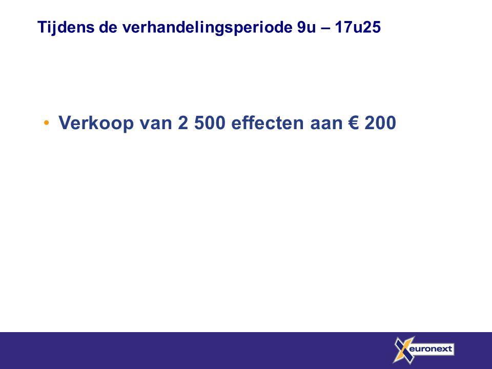 • Verkoop van 2 500 effecten aan € 200 Tijdens de verhandelingsperiode 9u – 17u25