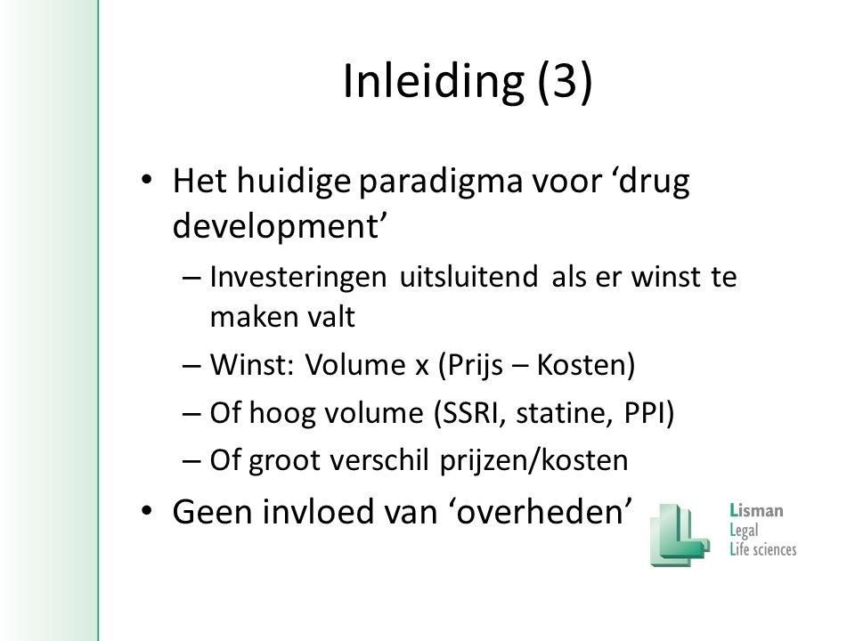 Inleiding (3) • Het huidige paradigma voor 'drug development' – Investeringen uitsluitend als er winst te maken valt – Winst: Volume x (Prijs – Kosten) – Of hoog volume (SSRI, statine, PPI) – Of groot verschil prijzen/kosten • Geen invloed van 'overheden'