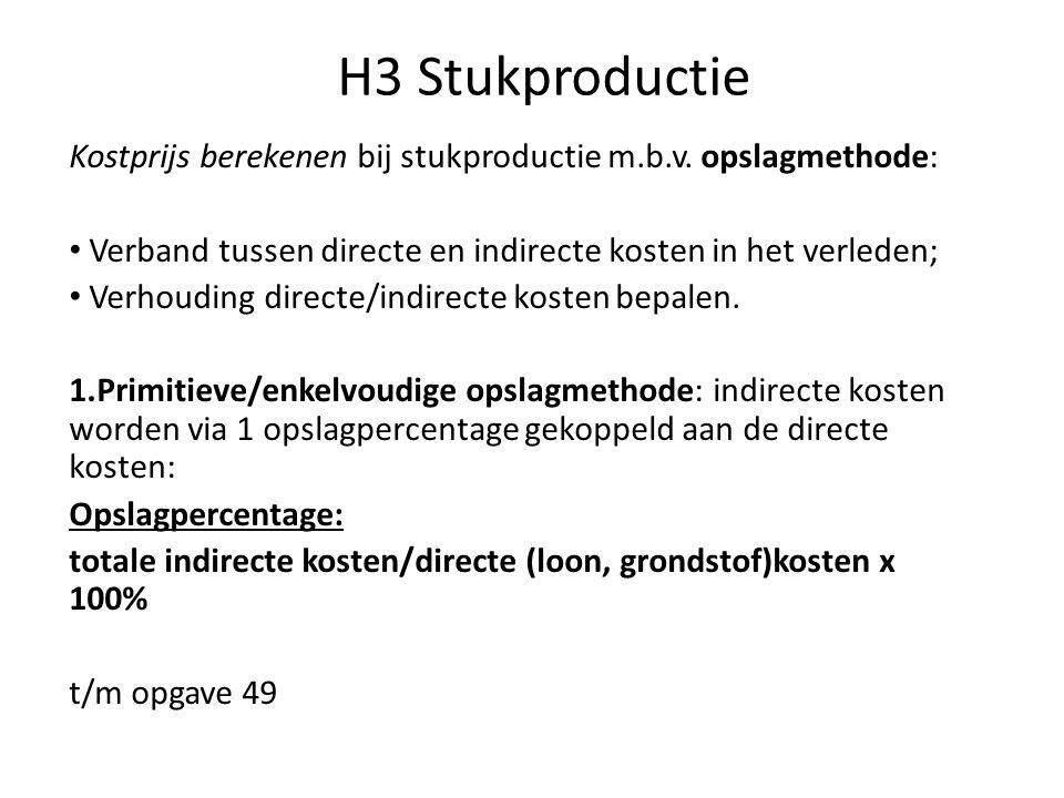 H3 Stukproductie Kostprijs berekenen bij stukproductie m.b.v. opslagmethode: • Verband tussen directe en indirecte kosten in het verleden; • Verhoudin