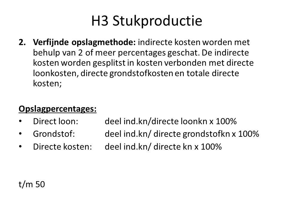 H3 Stukproductie 2.Verfijnde opslagmethode: indirecte kosten worden met behulp van 2 of meer percentages geschat. De indirecte kosten worden gesplitst