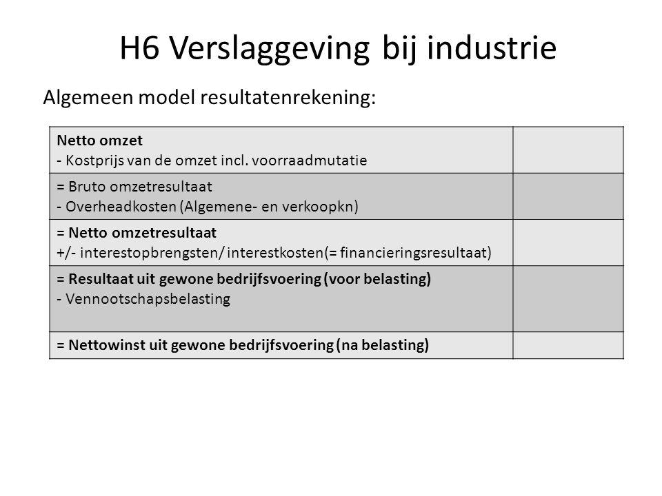 H6 Verslaggeving bij industrie Algemeen model resultatenrekening: Netto omzet - Kostprijs van de omzet incl. voorraadmutatie = Bruto omzetresultaat -