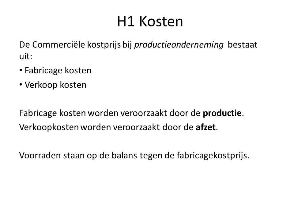H1 Kosten De Commerciële kostprijs bij productieonderneming bestaat uit: • Fabricage kosten • Verkoop kosten Fabricage kosten worden veroorzaakt door