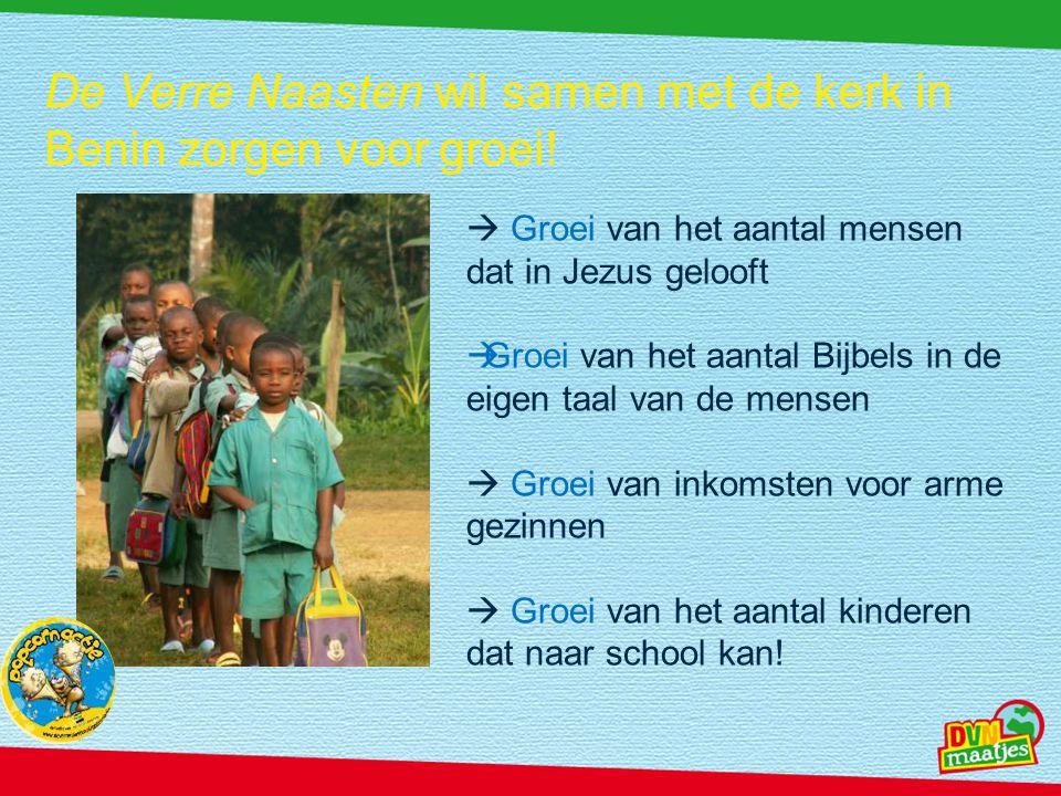 De Verre Naasten wil samen met de kerk in Benin zorgen voor groei!  Groei van het aantal mensen dat in Jezus gelooft  Groei van het aantal Bijbels i