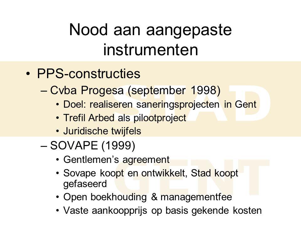 Nood aan aangepaste instrumenten •PPS-constructies –Cvba Progesa (september 1998) •Doel: realiseren saneringsprojecten in Gent •Trefil Arbed als pilootproject •Juridische twijfels –SOVAPE (1999) •Gentlemen's agreement •Sovape koopt en ontwikkelt, Stad koopt gefaseerd •Open boekhouding & managementfee •Vaste aankoopprijs op basis gekende kosten