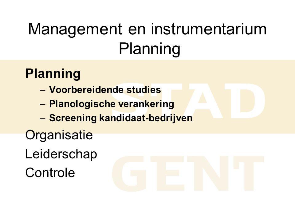 Management en instrumentarium Planning Planning –Voorbereidende studies –Planologische verankering –Screening kandidaat-bedrijven Organisatie Leiderschap Controle