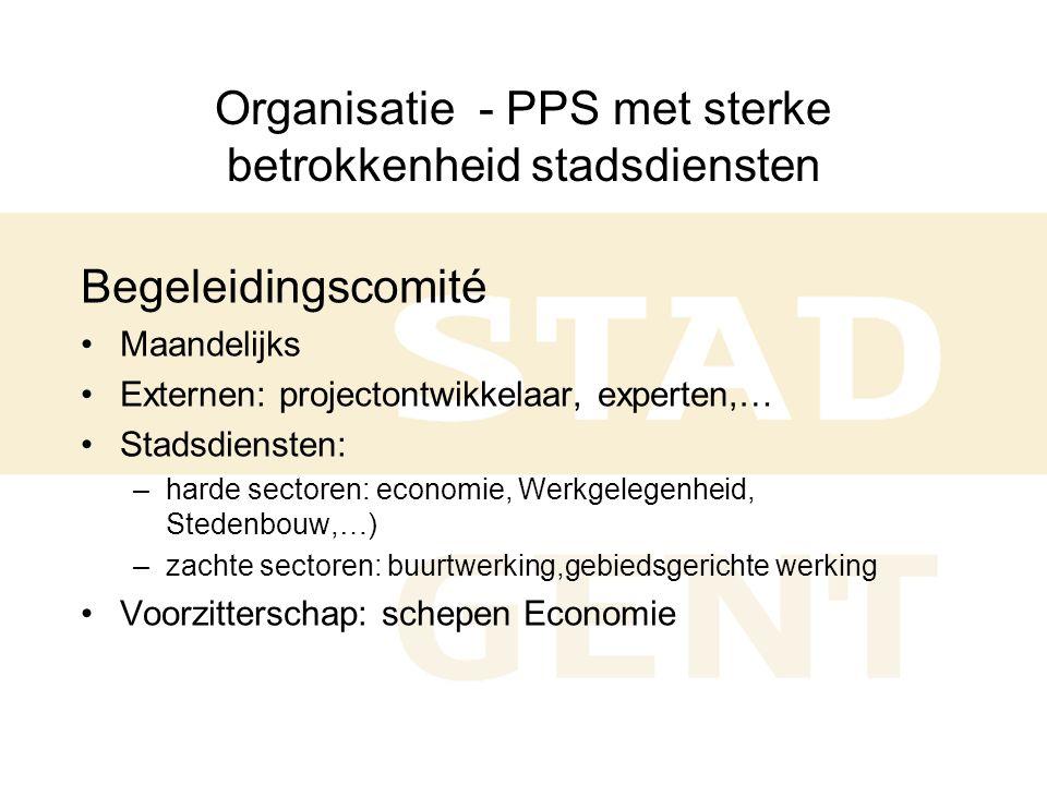Organisatie - PPS met sterke betrokkenheid stadsdiensten Begeleidingscomité •Maandelijks •Externen: projectontwikkelaar, experten,… •Stadsdiensten: –harde sectoren: economie, Werkgelegenheid, Stedenbouw,…) –zachte sectoren: buurtwerking,gebiedsgerichte werking •Voorzitterschap: schepen Economie