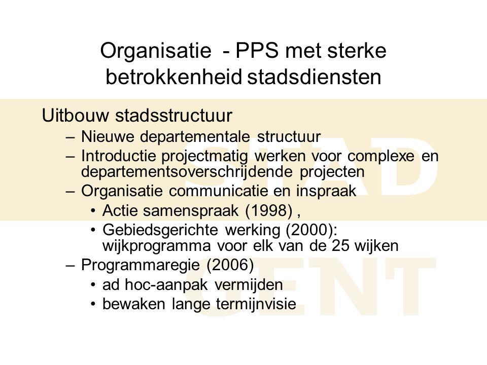 Organisatie - PPS met sterke betrokkenheid stadsdiensten Uitbouw stadsstructuur –Nieuwe departementale structuur –Introductie projectmatig werken voor complexe en departementsoverschrijdende projecten –Organisatie communicatie en inspraak •Actie samenspraak (1998), •Gebiedsgerichte werking (2000): wijkprogramma voor elk van de 25 wijken –Programmaregie (2006) •ad hoc-aanpak vermijden •bewaken lange termijnvisie