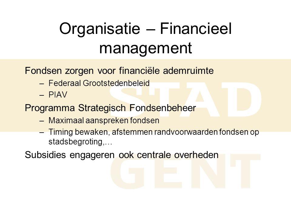 Organisatie – Financieel management Fondsen zorgen voor financiële ademruimte –Federaal Grootstedenbeleid –PIAV Programma Strategisch Fondsenbeheer –Maximaal aanspreken fondsen –Timing bewaken, afstemmen randvoorwaarden fondsen op stadsbegroting,… Subsidies engageren ook centrale overheden